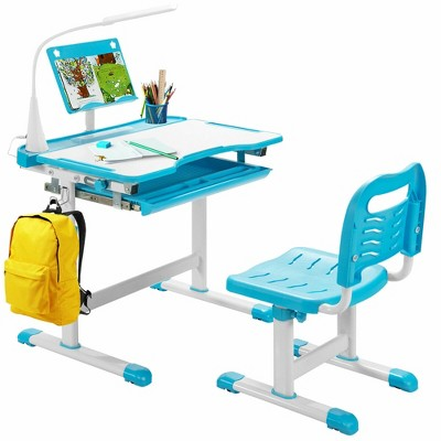 Costway Height Adjustable Kids Study Table and Chair Set w/Bookstand & Light Pink/Light Blue