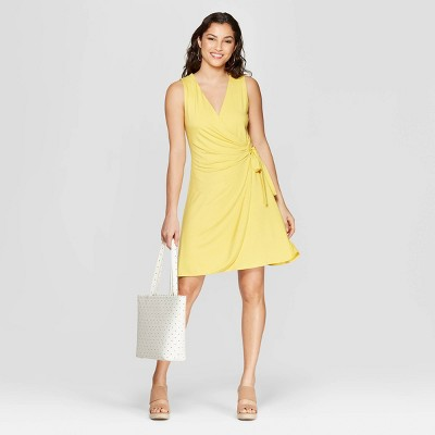 474ced96b40 Women s Regular Fit Sleeveless V-Neck Wrap Dress - A New Day™ Yellow