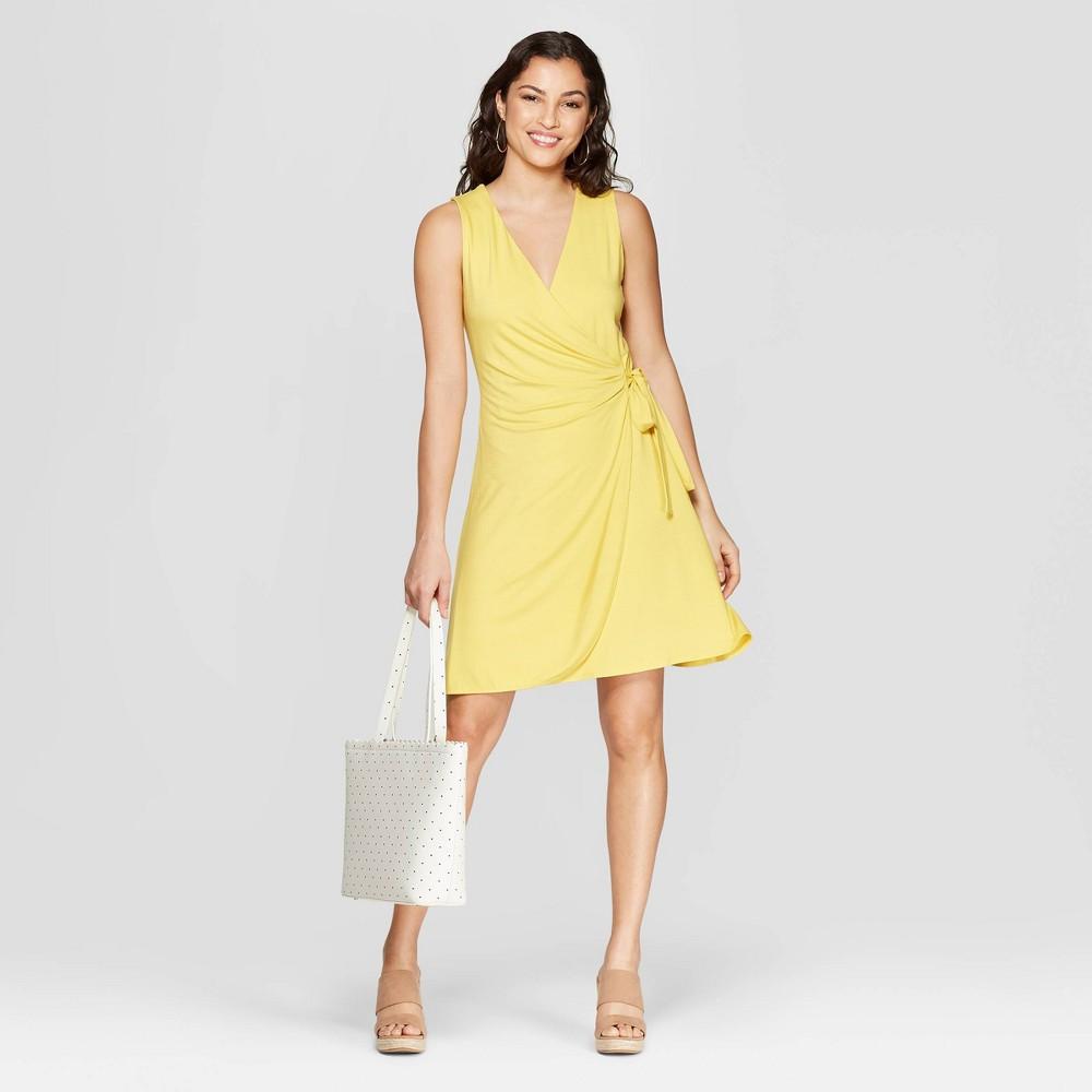 Women's Regular Fit Sleeveless V-Neck Wrap Dress - A New Day Yellow XS