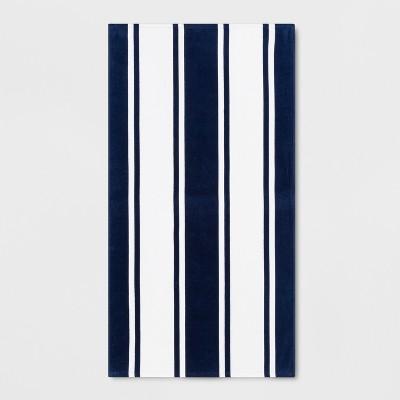 Stripe Beach Towel Navy - Sun Squad™