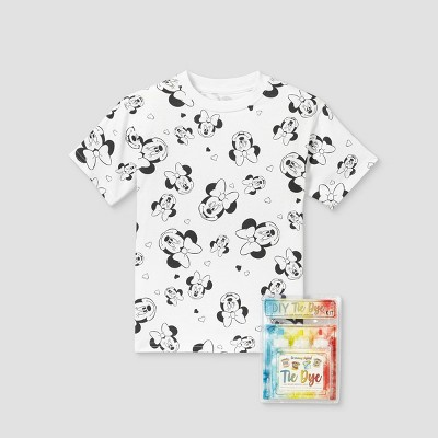 Kids' Disney Minnie Mouse Short Sleeve Graphic T-Shirt with Tie-Dye Kit - White