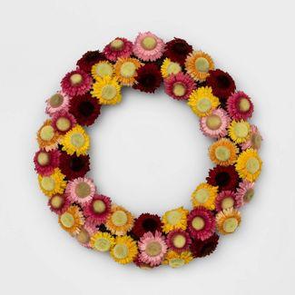 "18"" Artificial Straw Flower Wreath - Opalhouse™"