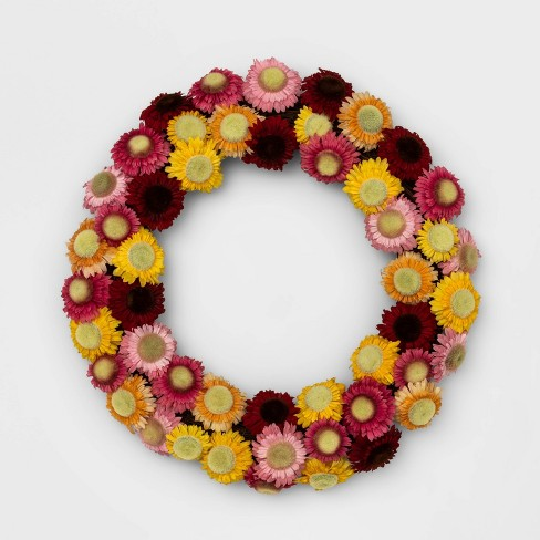"""18"""" Artificial Straw Flower Wreath - Opalhouse™ - image 1 of 1"""