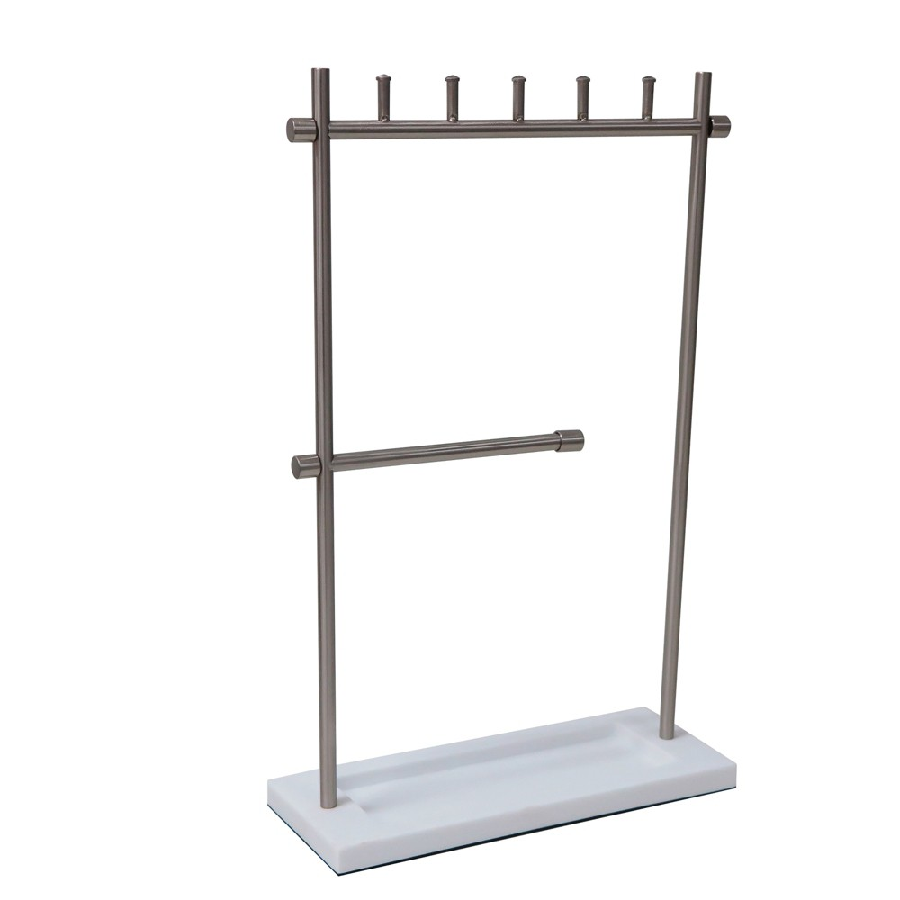 Tiered Jewelry Stand White/ Brushed Nickel - 88 Main, Silver