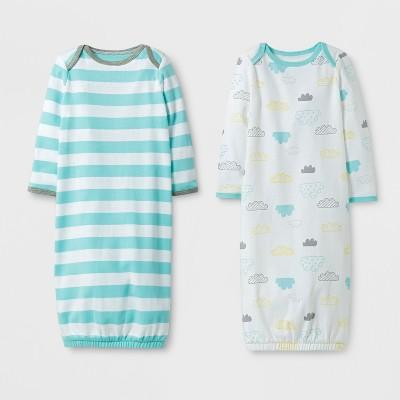 Baby 2pk Gown Set Cloud Island™ - Glacier Aqua 0-6M