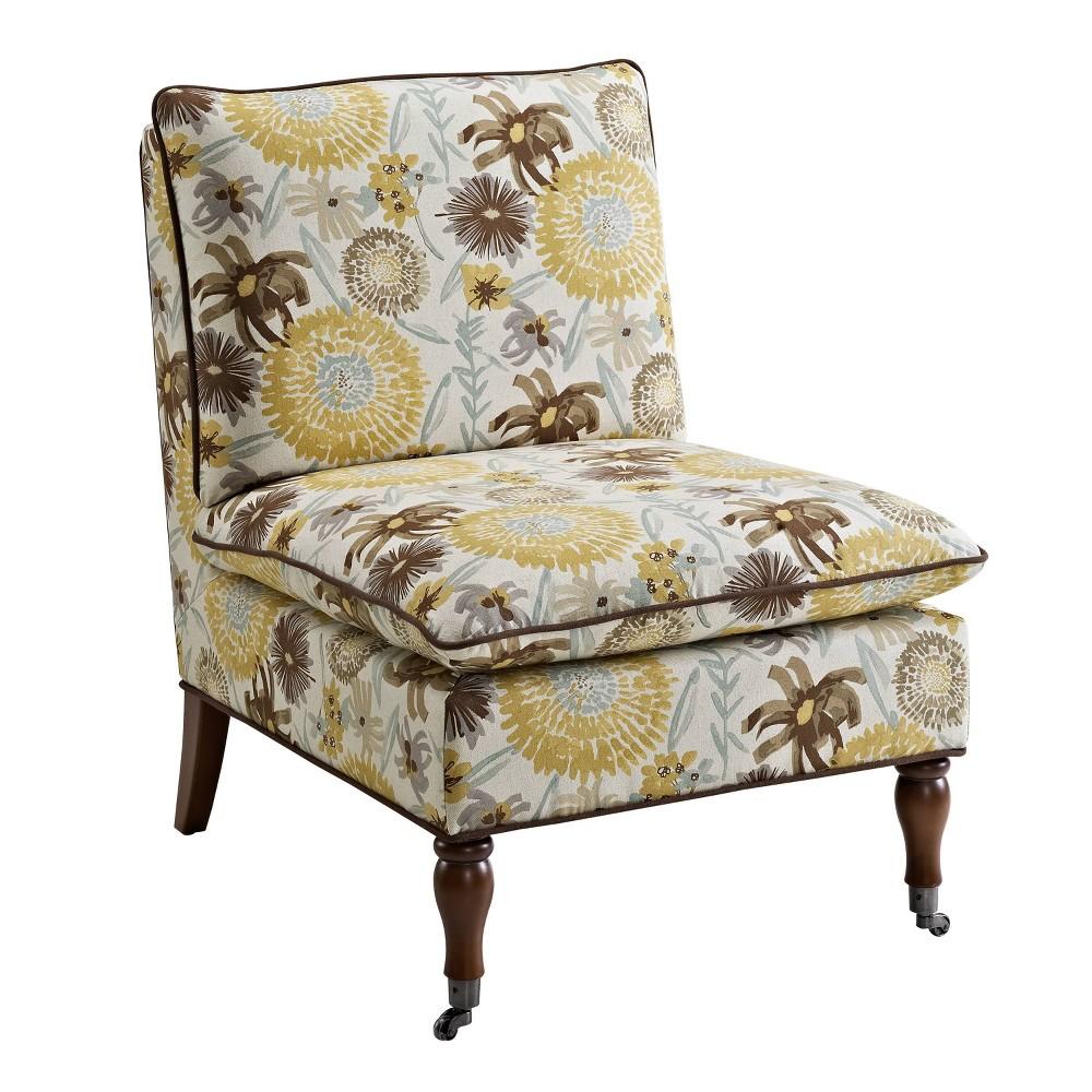 Peggy Floral Pillow Top Slipper Chair Brown - Linon