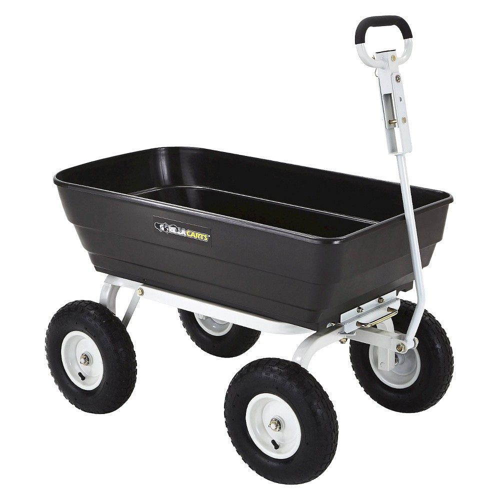 Gorilla Carts Poly Garden Dump Cart with 2-in-1 Convertible Handle, 1,000-Pound Capacity, Black