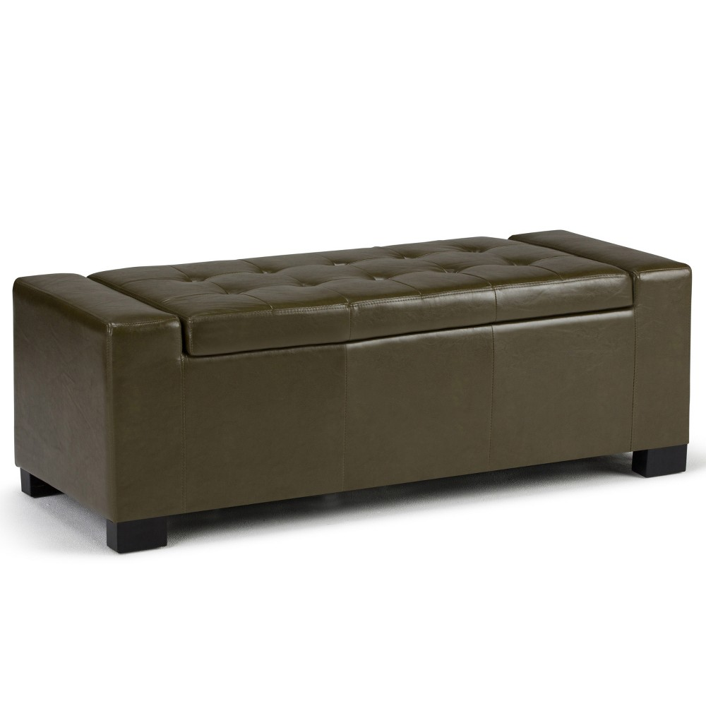 Image of 51Santa Fe Large Storage Ottoman Deep Olive Green Faux Leather - Wyndenhall