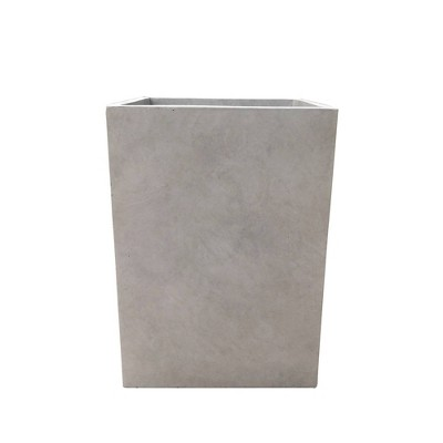"""19"""" Kante Lightweight Durable Modern Tall Square Outdoor Planter Weathered Concrete Gray - Rosemead Home & Garden, Inc."""