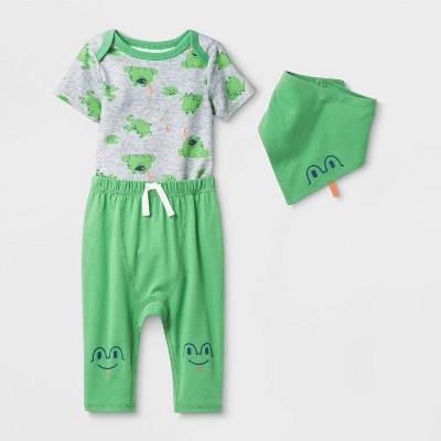 Baby 3pc Short Sleeve Frog Top & Bottom Set - Cat & Jack™ Green/Gray 6-9M