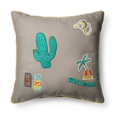Badges Decorative Throw Pillow (16 x16 )Gray - Pillowfort™