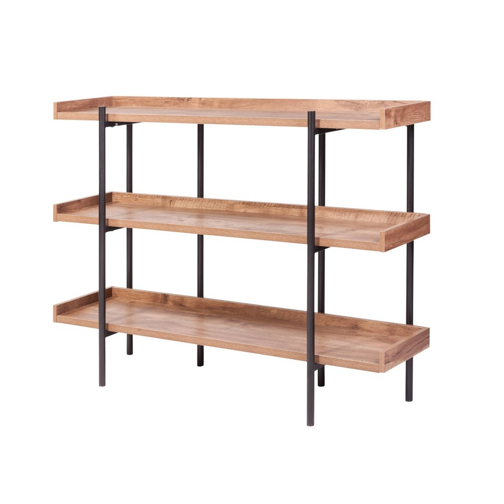 Image of 3 Shelf Modern Wood and Steel Display Dark Oak - Onespace, Dark Brown