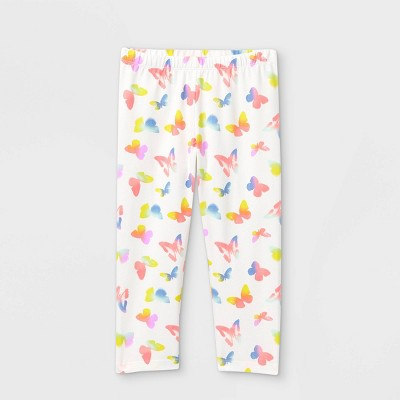 Girls' Butterfly Capri Leggings - Cat & Jack™ White