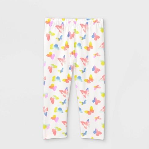 Girls' Butterfly Capri Leggings - Cat & Jack™ White - image 1 of 2