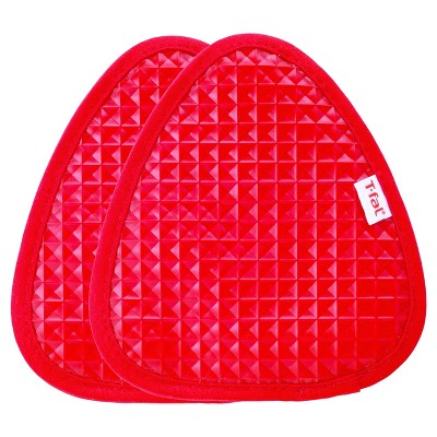 "2pk Red Waffle Silicone Pot Holder (7.5""x8.25"")- T-Fal"