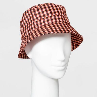 Women's Plaid Bucket Hat - Orange/Brown One Size