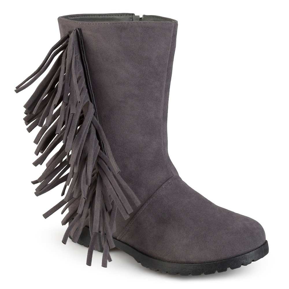 Girls' Journee Collection Luzie Round Toe Fringed Fashion Boots - Gray 3