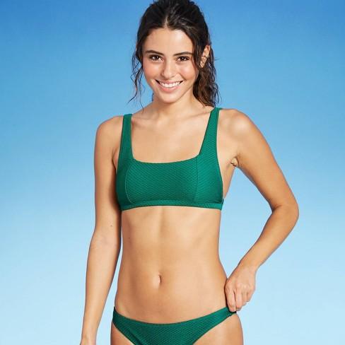 Women's Textured Square Neck Bralette Bikini Top - Shade & Shore™ Evergreen - image 1 of 4