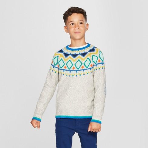 Boys' Fair Isle Pullover Sweater - Cat & Jack™ Heather Gray - image 1 of 3