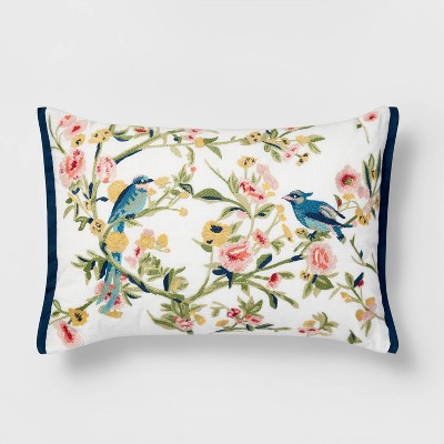 Lumbar Embroidered Floral and Bird Pillow White - Threshold™