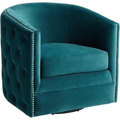 55 Downing Street Bridgerton Teal Green Velvet Tufted Swivel Accent Chair