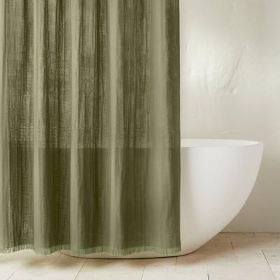 Gauze Shower Curtain Moss Green - Casaluna™