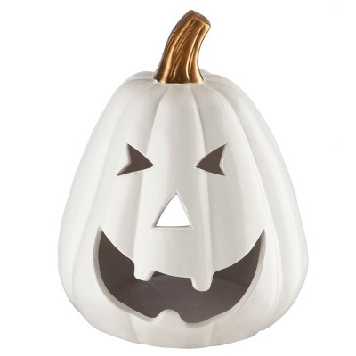 "7"" White Pumpkin Tea Light Holder Halloween Prop - White"