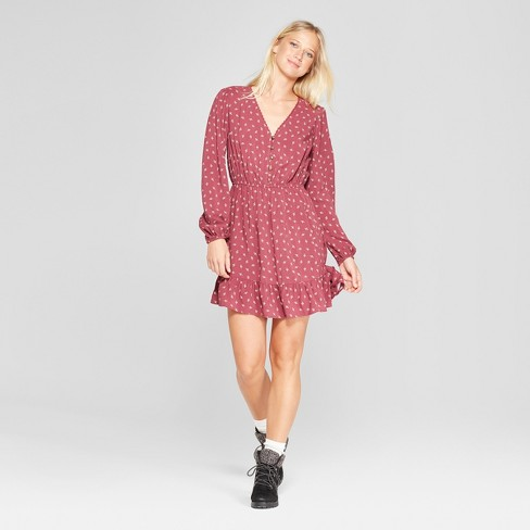 Women's Long Sleeve Button Front Woven Dress - Xhilaration™ - image 1 of 2
