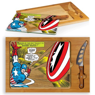 Marvel Captain America Icon Glass Top Wood Serving Tray with Knife Set by Picnic Time