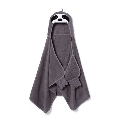 Sloth Hooded Towel Dark Gray - Pillowfort™