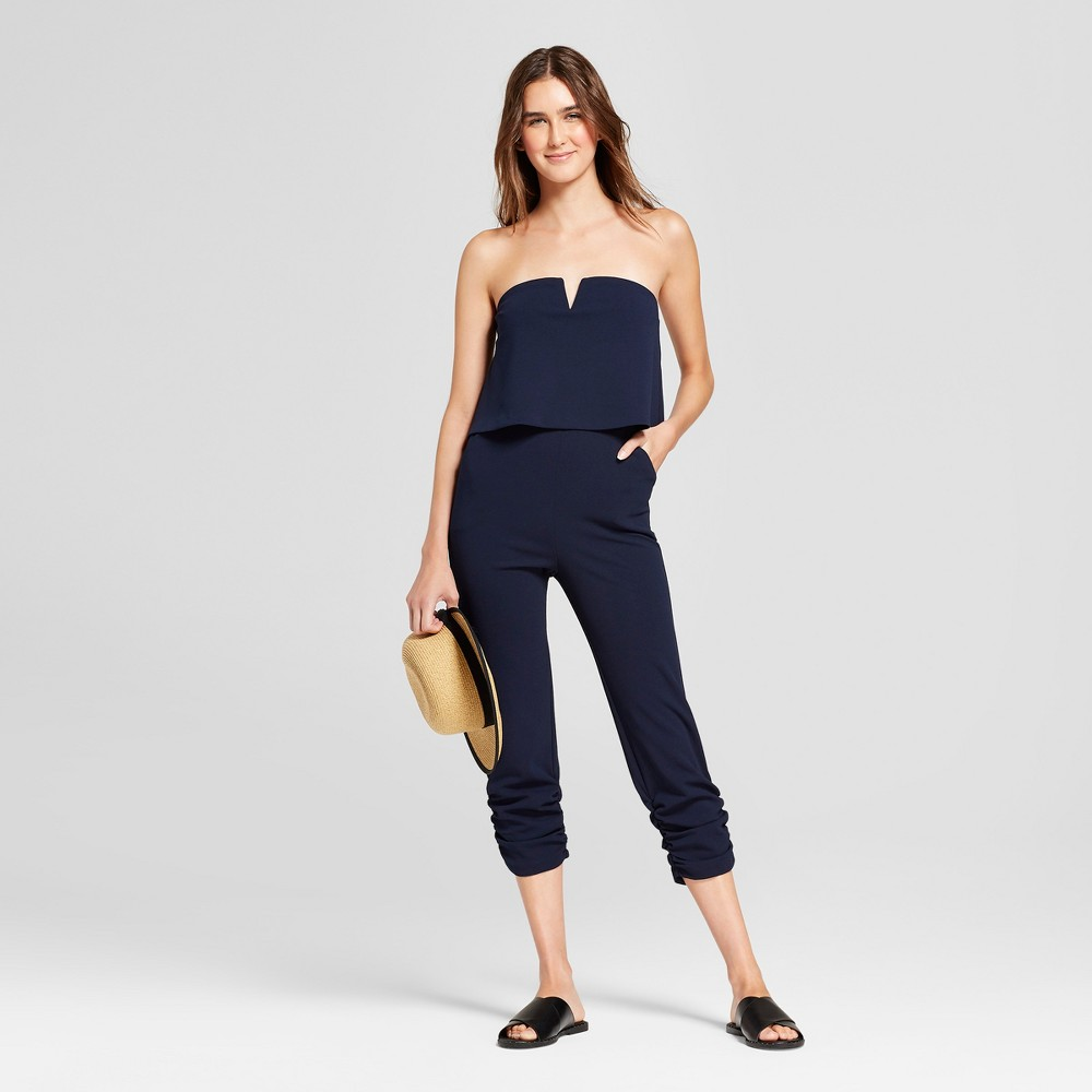 Women's Strapless Jumpsuit with Shirred Leg - Necessary Objects Navy M, Blue