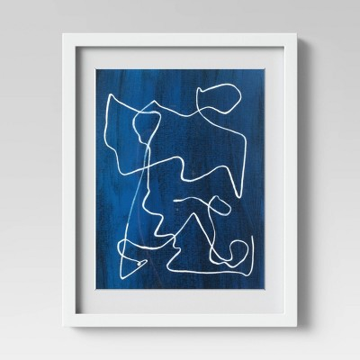 """16""""x20"""" Scribble Abstract Framed Wall Print Blue - Project 62™"""