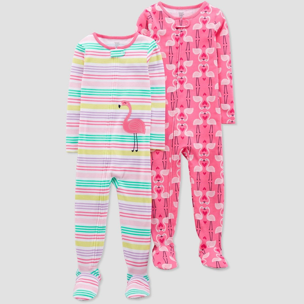 Toddler Girls' Pink Flamingo Stripes Poly Footed Sleepers - Just One You made by carter's Pink 3T