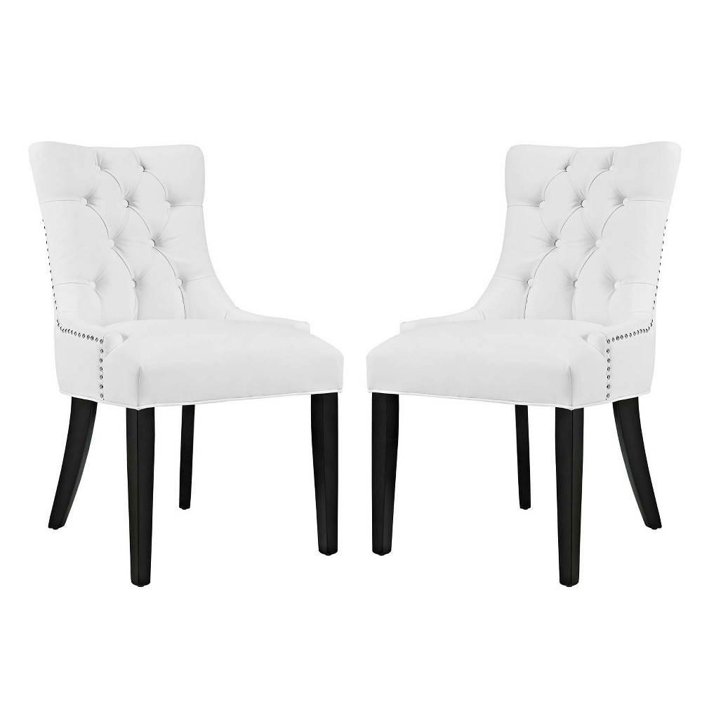 Regent Dining Side Chair Vinyl Set of 2 White - Modway