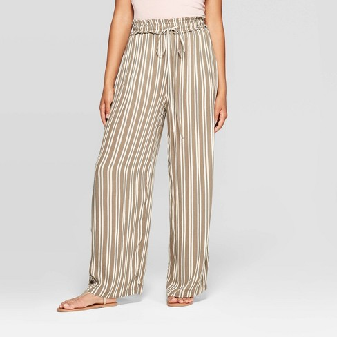 Women's Striped Tie Front Paperbag Waist Palazzo Pants - Xhilaration™ Tan/White - image 1 of 2