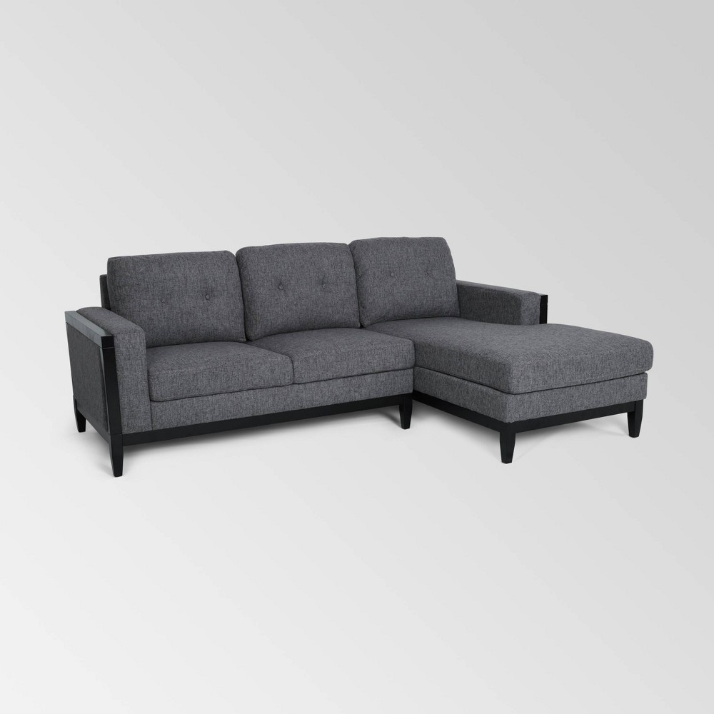 Image of 2pc Andover Mid Century Modern Chaise Sectional Charcoal - Christopher Knight Home