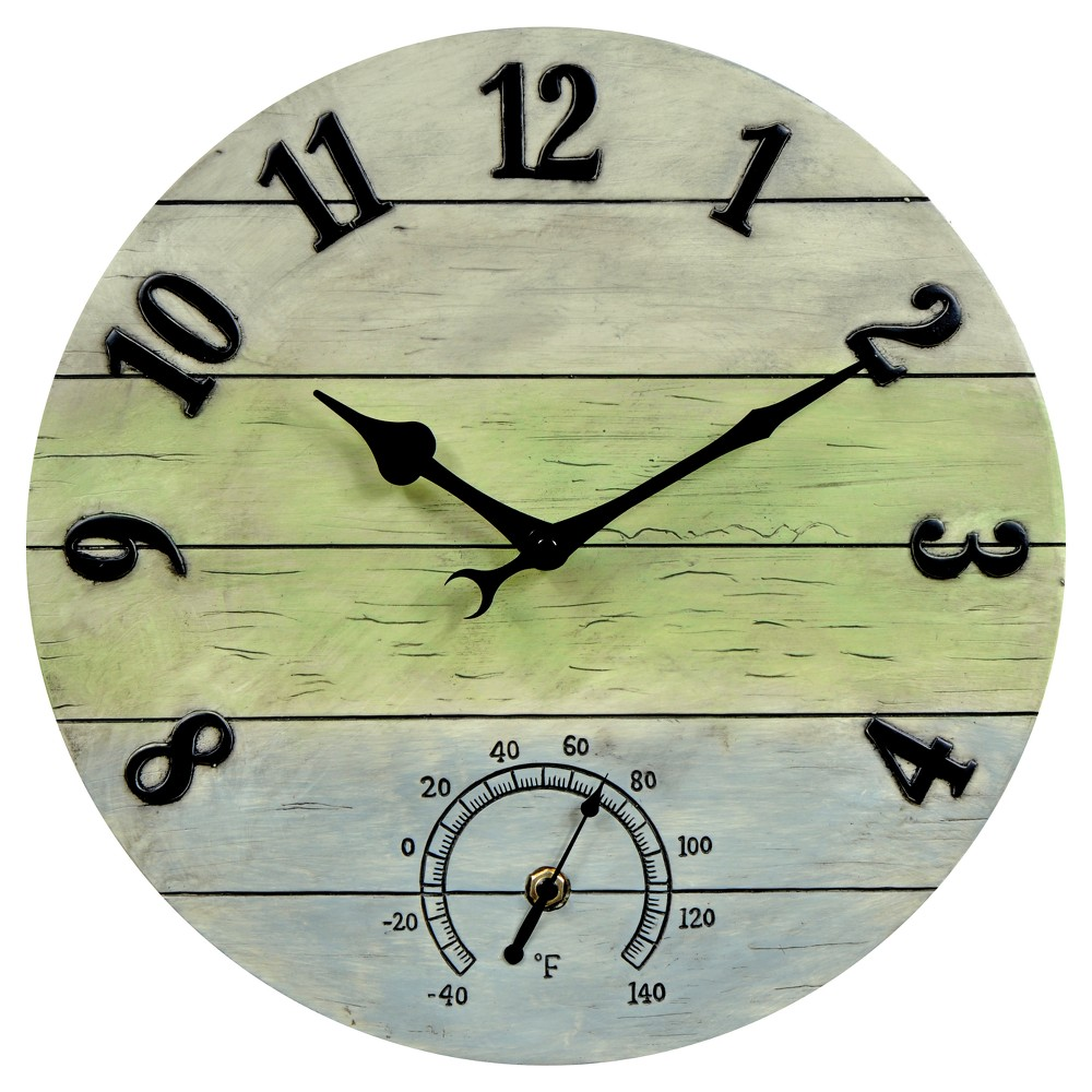 Image of 14 Resin Outdoor / Indoor Wall Clock with Thermometer - Distressed Barnwood Finish - Acurite, Blue