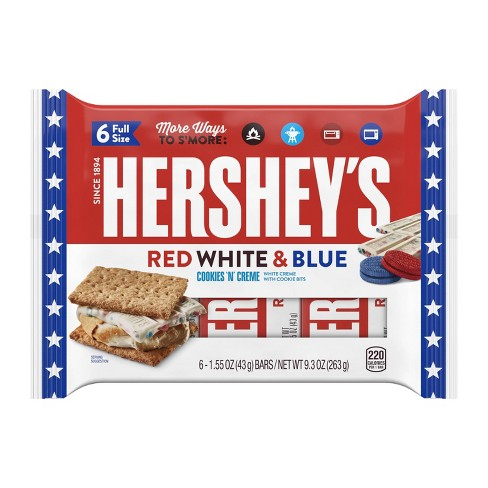 Hershey's Red, White & Blue Cookies 'n' Crème S'mores Candy Bars – 9.3oz/6ct - image 1 of 3