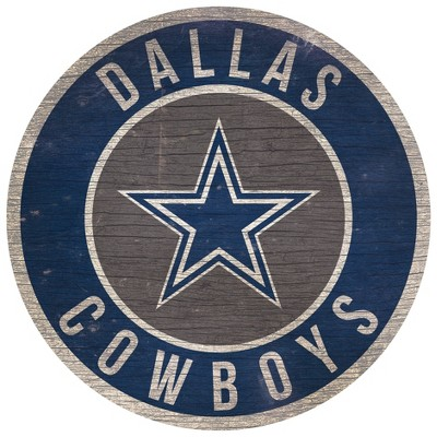 "NFL Dallas Cowboys Retro Circle Wooden Wall Art - 12"""