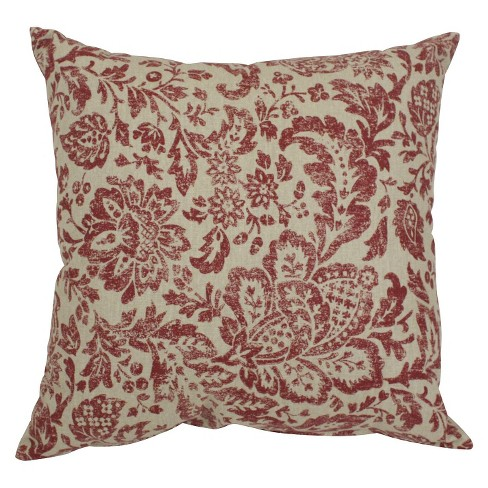 Red/Tan Floral Damask Throw Pillow - Pillow Perfect - image 1 of 2