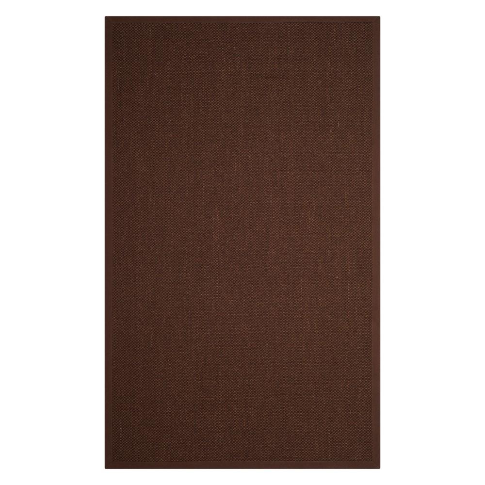 6'X9' Solid Loomed Area Rug Chocolate/Dark Brown - Safavieh