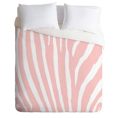 Natalie Baca Zebra Stripes Rose Quartz Duvet Set