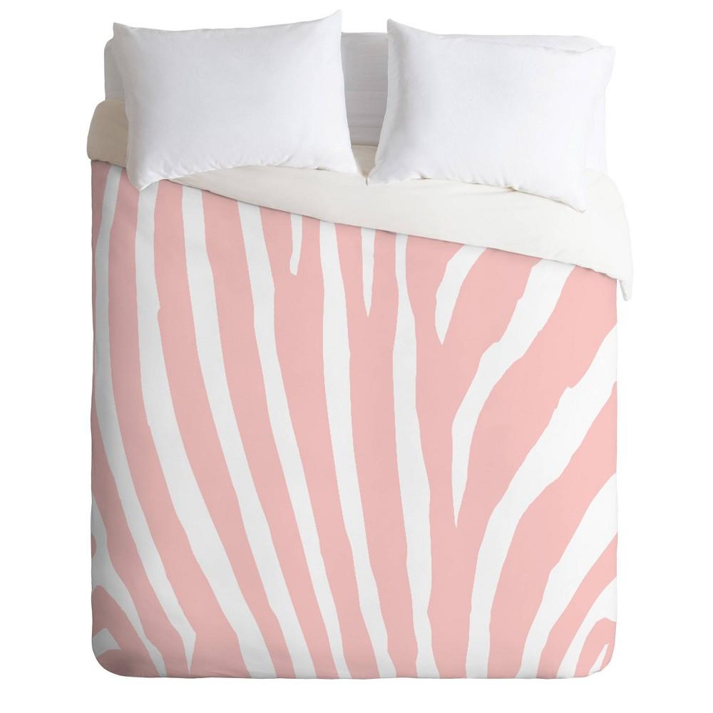King Natalie Baca Zebra Stripes Duvet Set Pink White Deny Designs