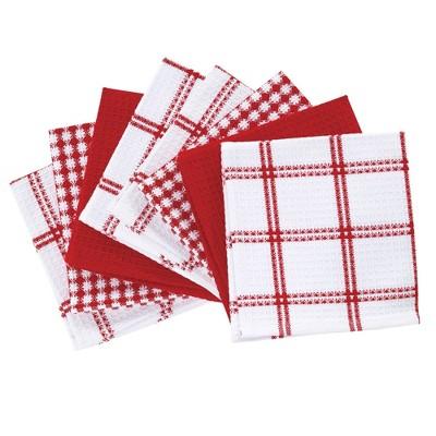 8pk Flat Waffle Kitchen Dish Cloths Red - T-Fal