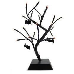 "Northlight 15"" Prelit Spooky Halloween Tabletop Tree with Bats - Orange/Black"