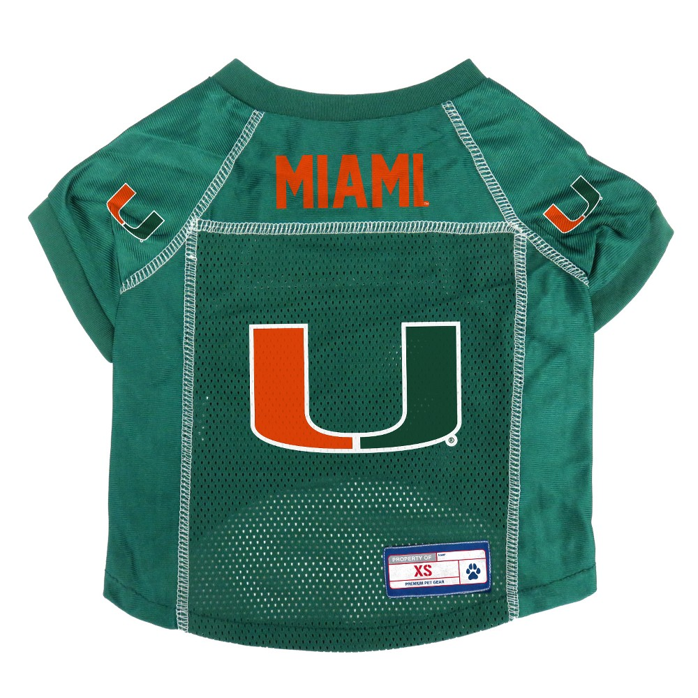 Miami Hurricanes Little Earth Pet Football Jersey - S, Multicolored