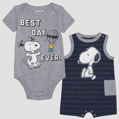 Baby Boys' Peanuts Snoopy 2pk Sleeveless Romper and Short Sleeve Bodysuit - Blue/Gray 3-6M