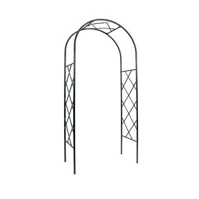 "92"" Iron Lattice Garden Arbor Graphite Powder Coated Finish - Achla Designs"