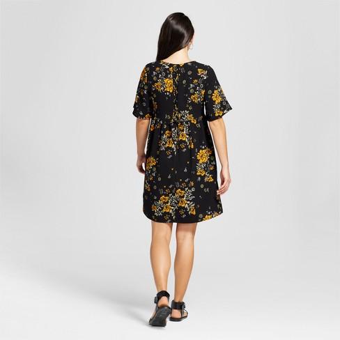 a23519211b Women's Floral Short Sleeve Lace-Up Back Babydoll Dress - Alison Andrews  Black : Target