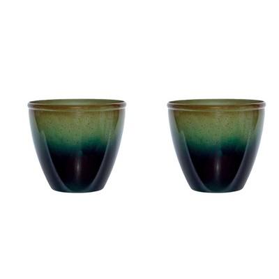 Suncast Seneca 16 Inch Decorative Resin Flower Planter Pot, Green/Blue (2 Pack)